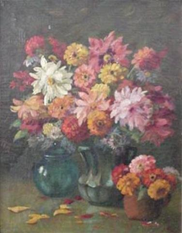 199: Floral Still Life signed Martin Retigg Oil/Canvas