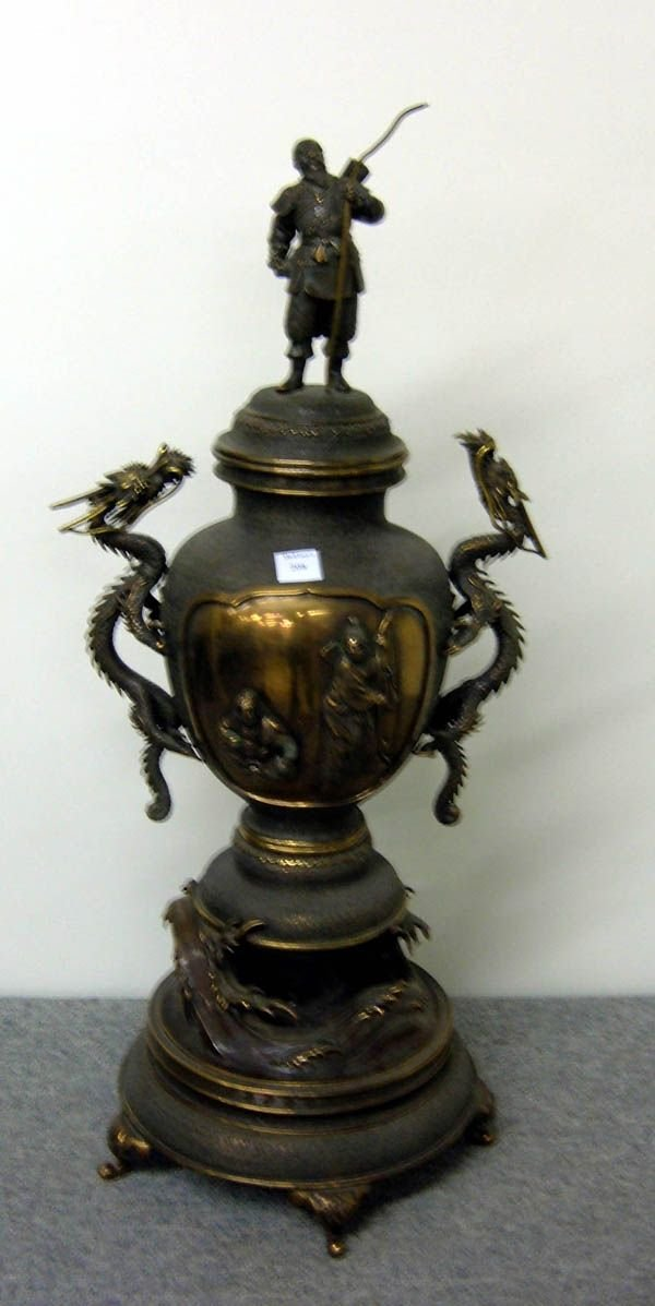 208: Chinese Bronze Urn Dragon Handles Raised Figurals