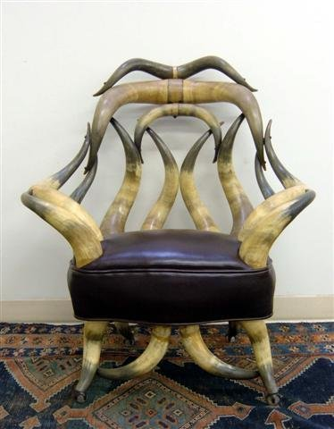 211: Steer Horn Chair and Footstool. Ca 1900