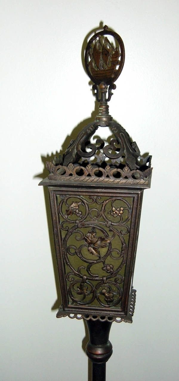 304: Pair of bronze torchiere lamps w/ pierced lattice