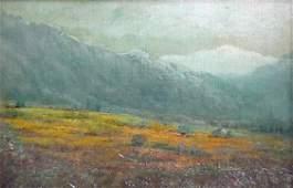 574: Mary L. Stevens. California Landscape. Oil on comp