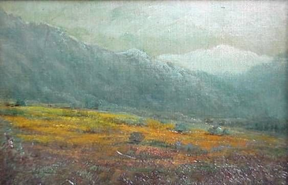 574: Mary L. Stevens. California Landscape. Oil on comp