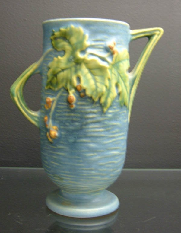 703: Roseville Blue Bushberry vase #29-6