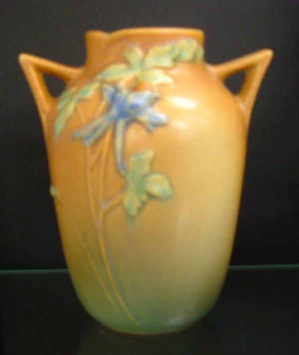 705: Roseville brown Columbine vase