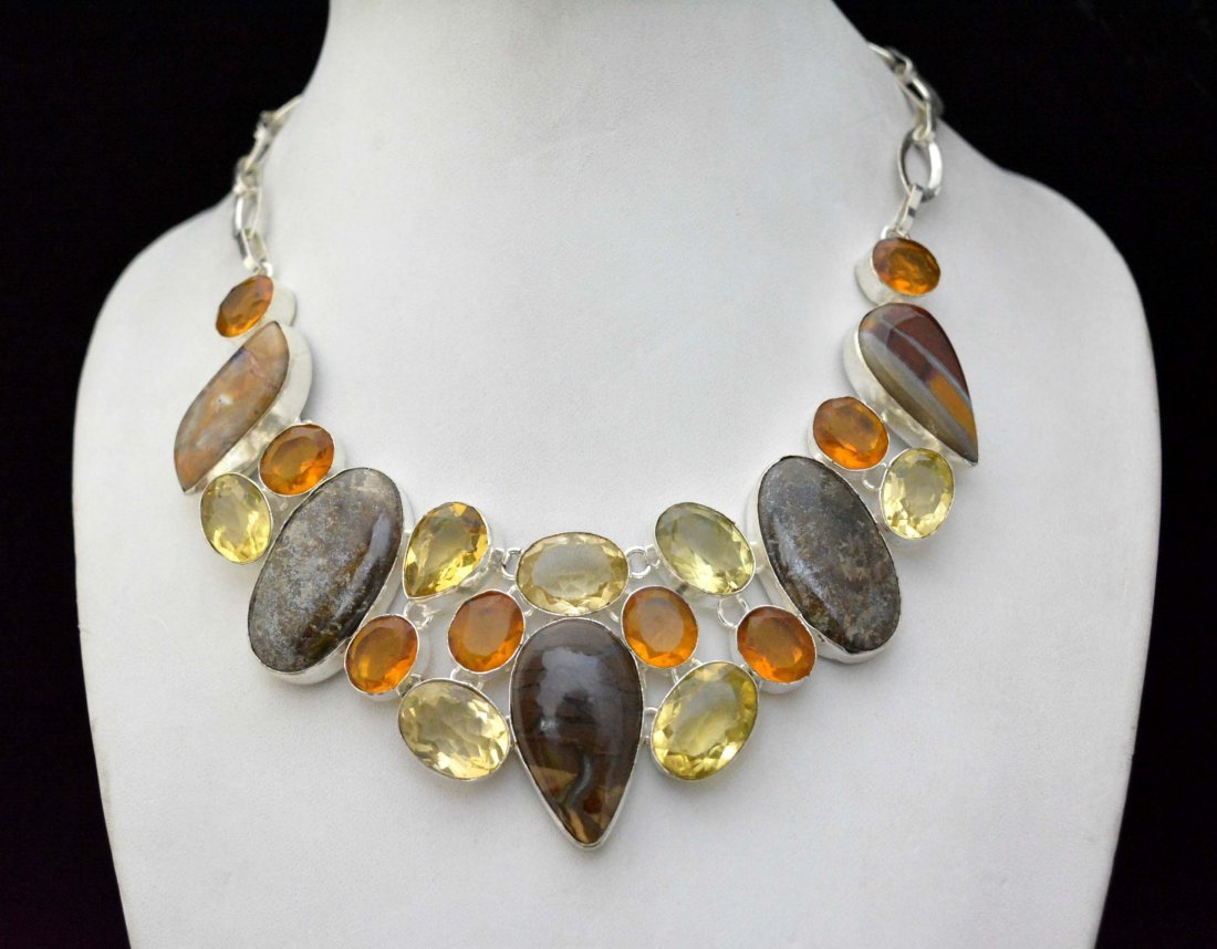 Beautiful Necklace With Bronzite  - Multi Color Quartz