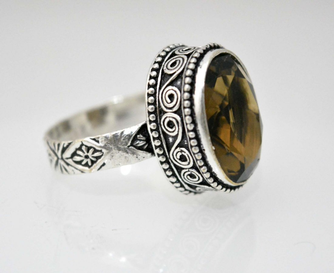 Unique Vintage Look Designer Ring Size 11  With Smokey