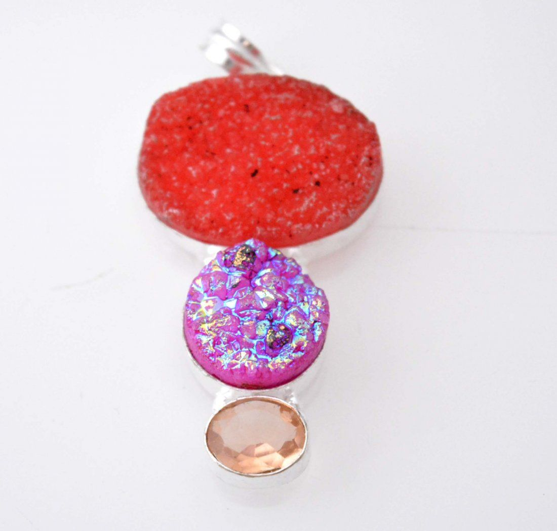 Sparkling Pendant With Titanium Druzy-Genuine Quartz