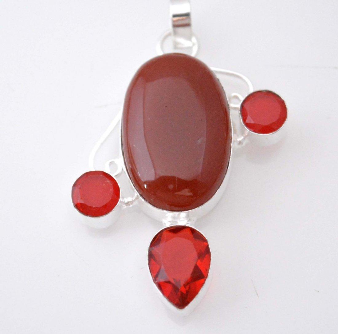 Lovely Pendant With Carnelian-Red Garnet Quartz