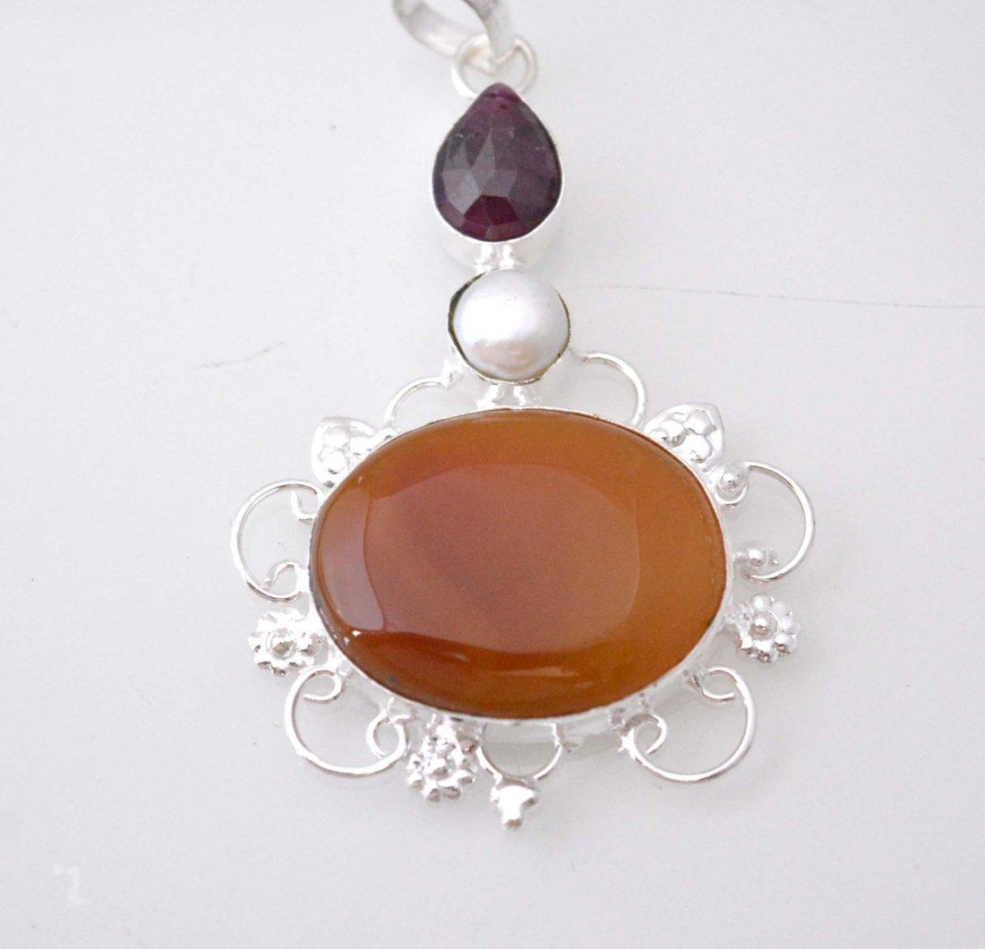 Botswana Lace Agate-Longido Ruby-Pearl Pendant