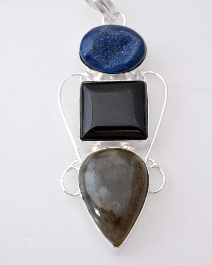 Amazing Labradorite-Black Onyx-Druzy Pendant