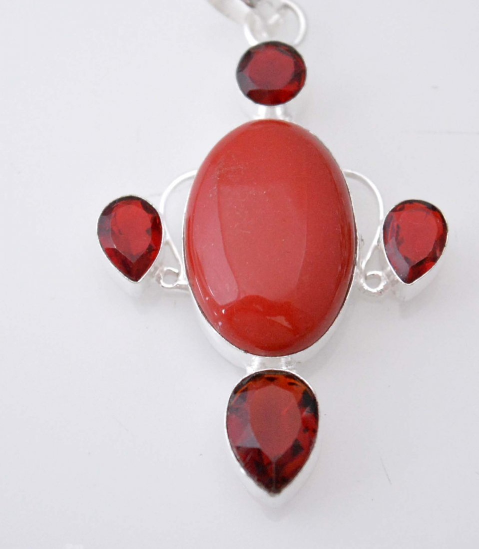 Preety Pendant With Simulated Coral-Red Garnet Quartz