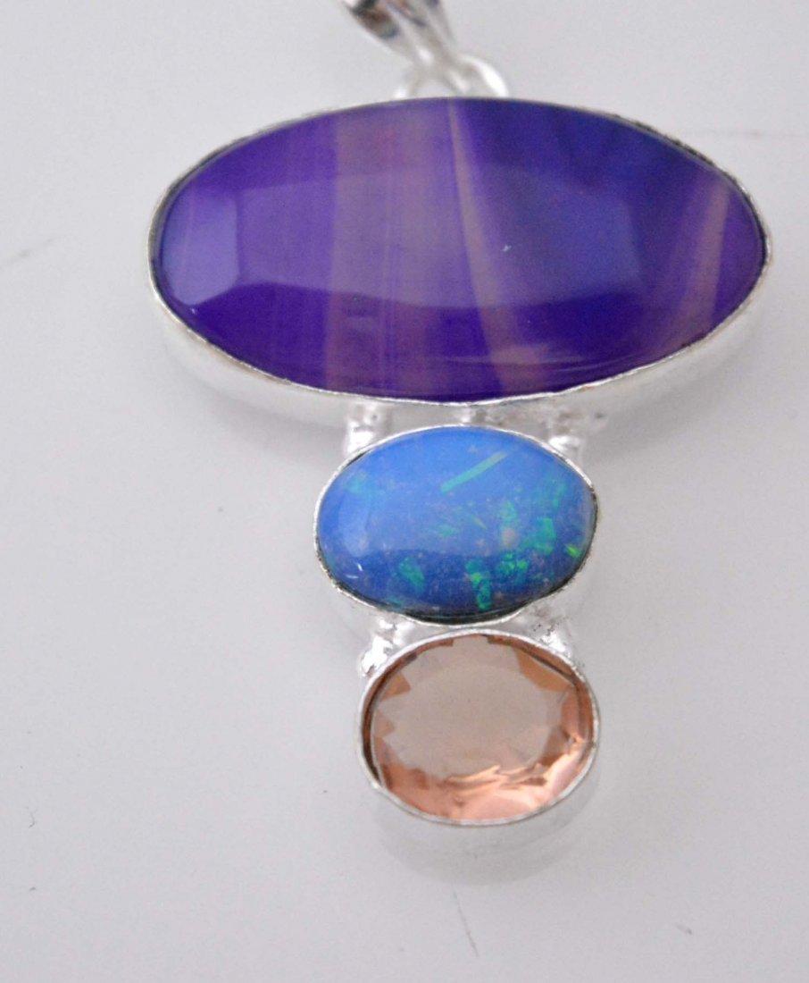 Botswana Lace Agate-Dychoric Glass-Pink Quartz Pendant