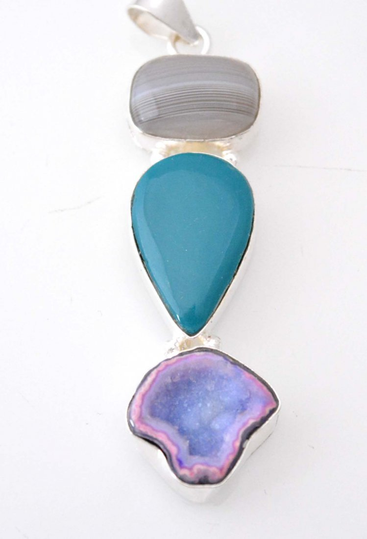 Classic Botswana Lace Agate-Onyx-Window Druzy Pendant