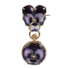 Faberge diamond-set gold and enamel pendant watch