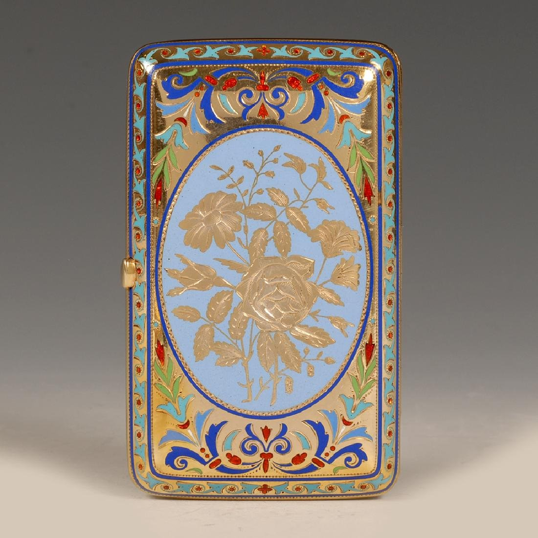 Russian Grachev silver and champleve enamel case