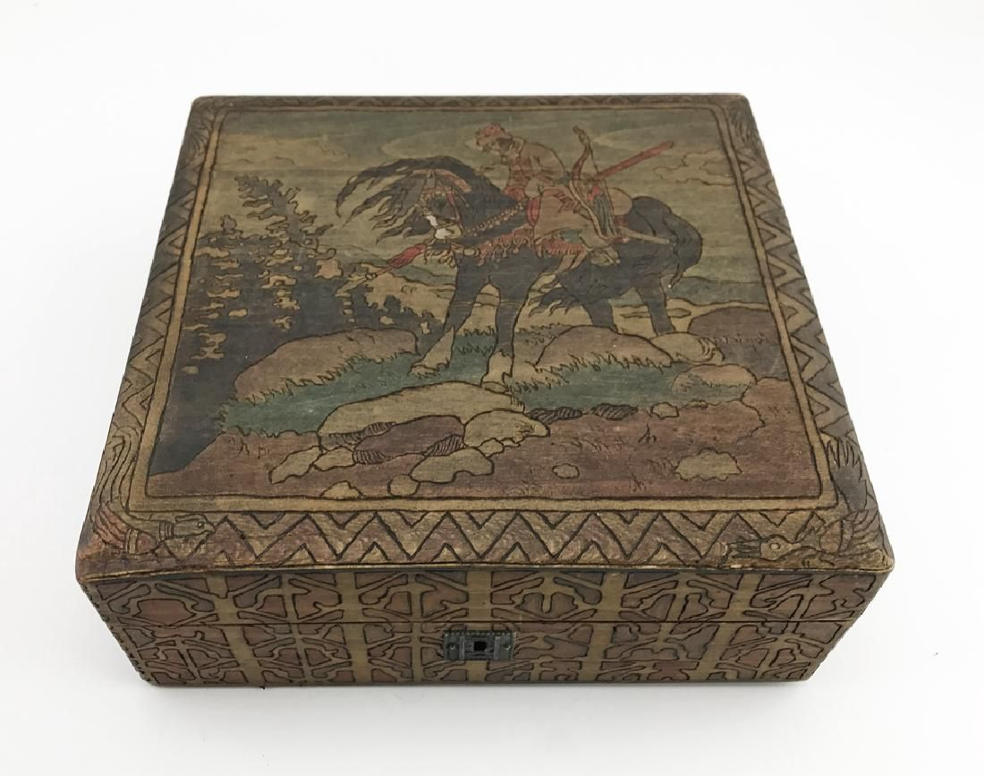 A Russian kustar or folk art jewelry box