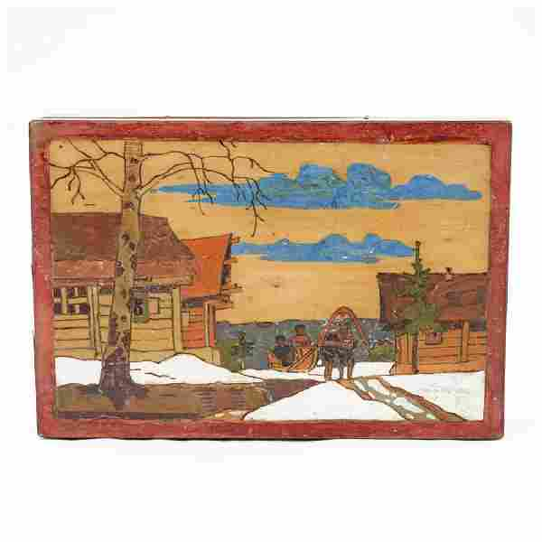 A Russian folk or kustar art box, ca1900