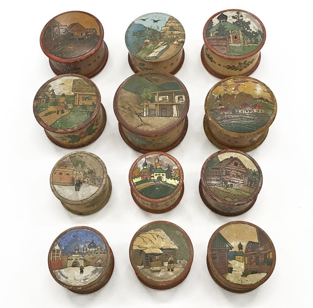 Group of 12 Russian folk kustar art round boxes, ca1900