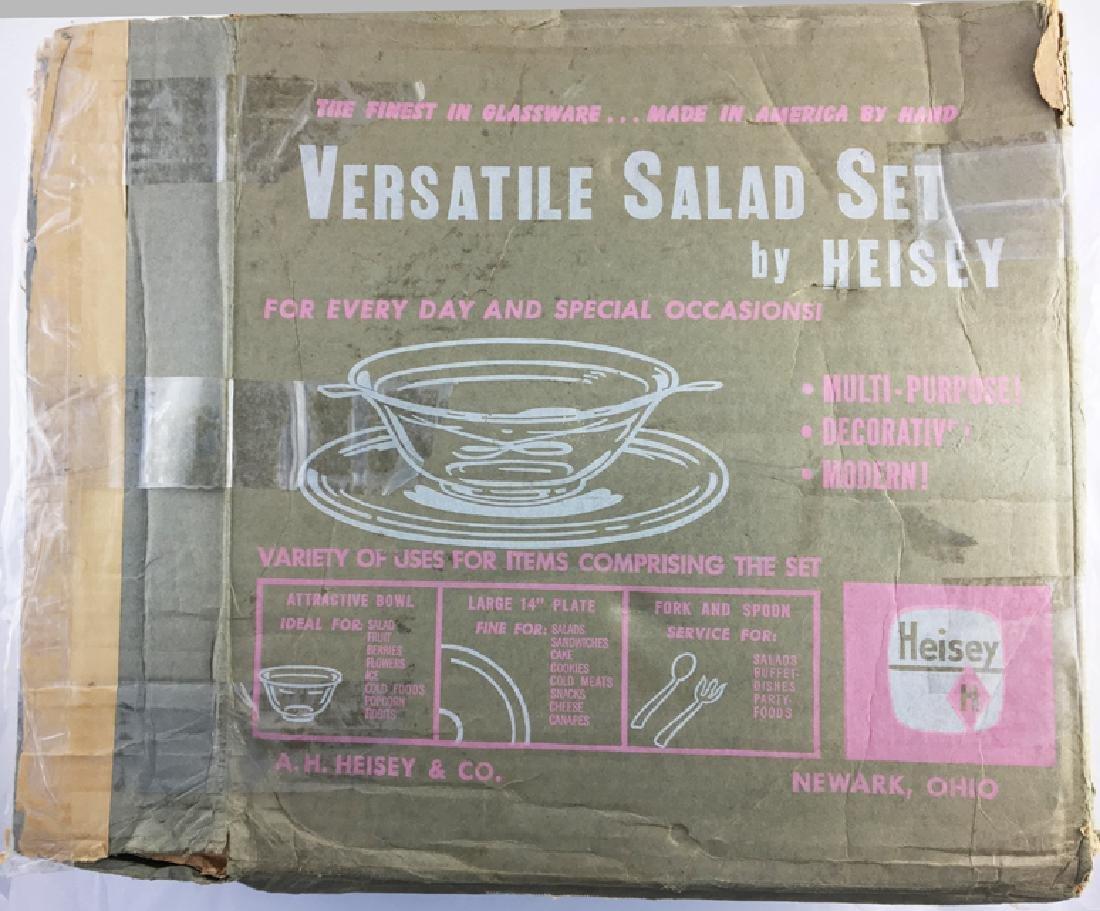 Very Rare Zeisel Heisey Glass Salad Set, original box - 5