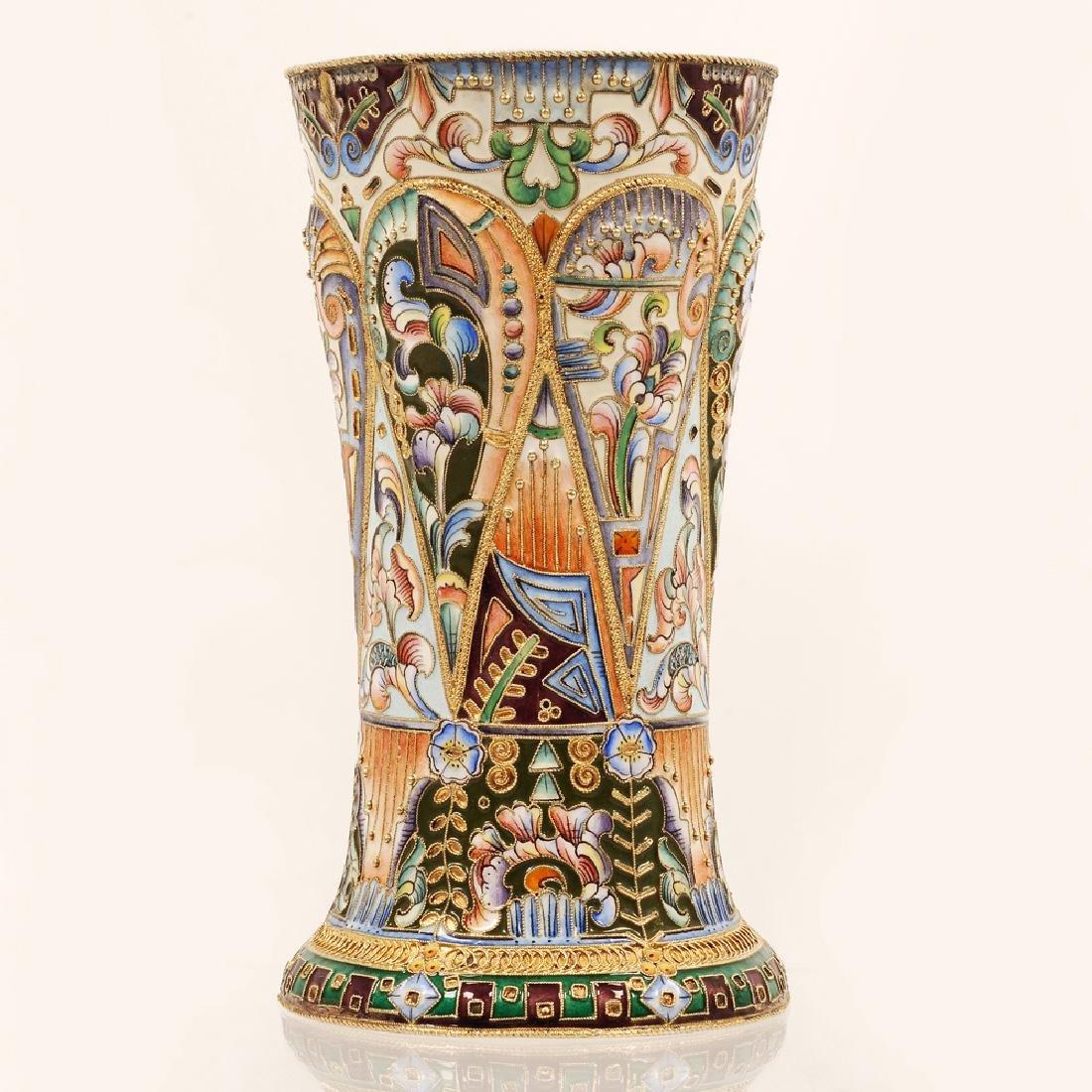 20th Artel shaded enamel beaker vase