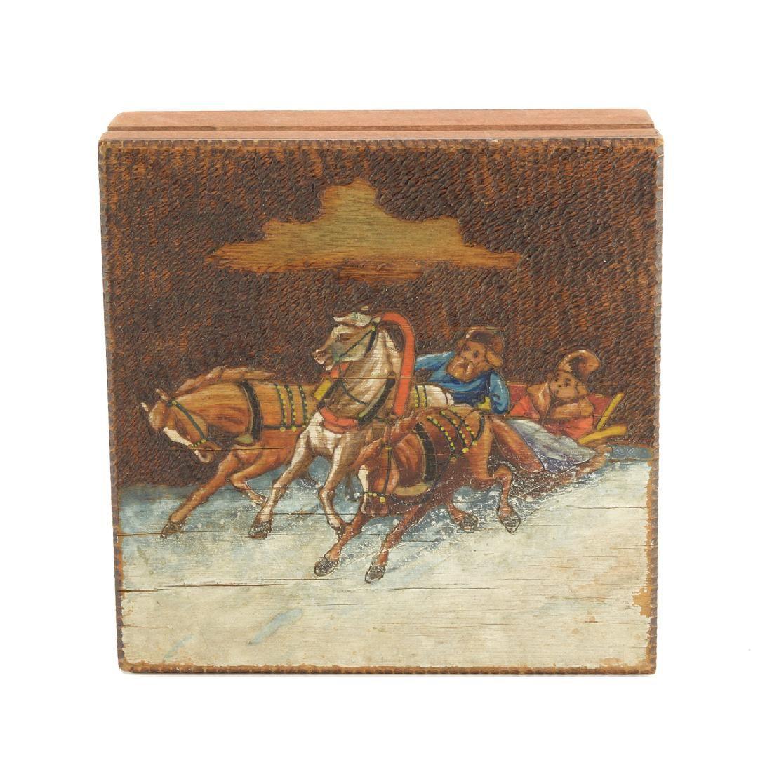 A Russian kustar or folk art box