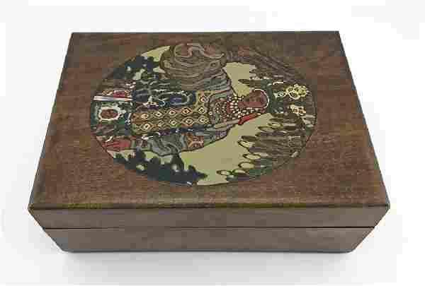 Russian kustar folk art painted table box
