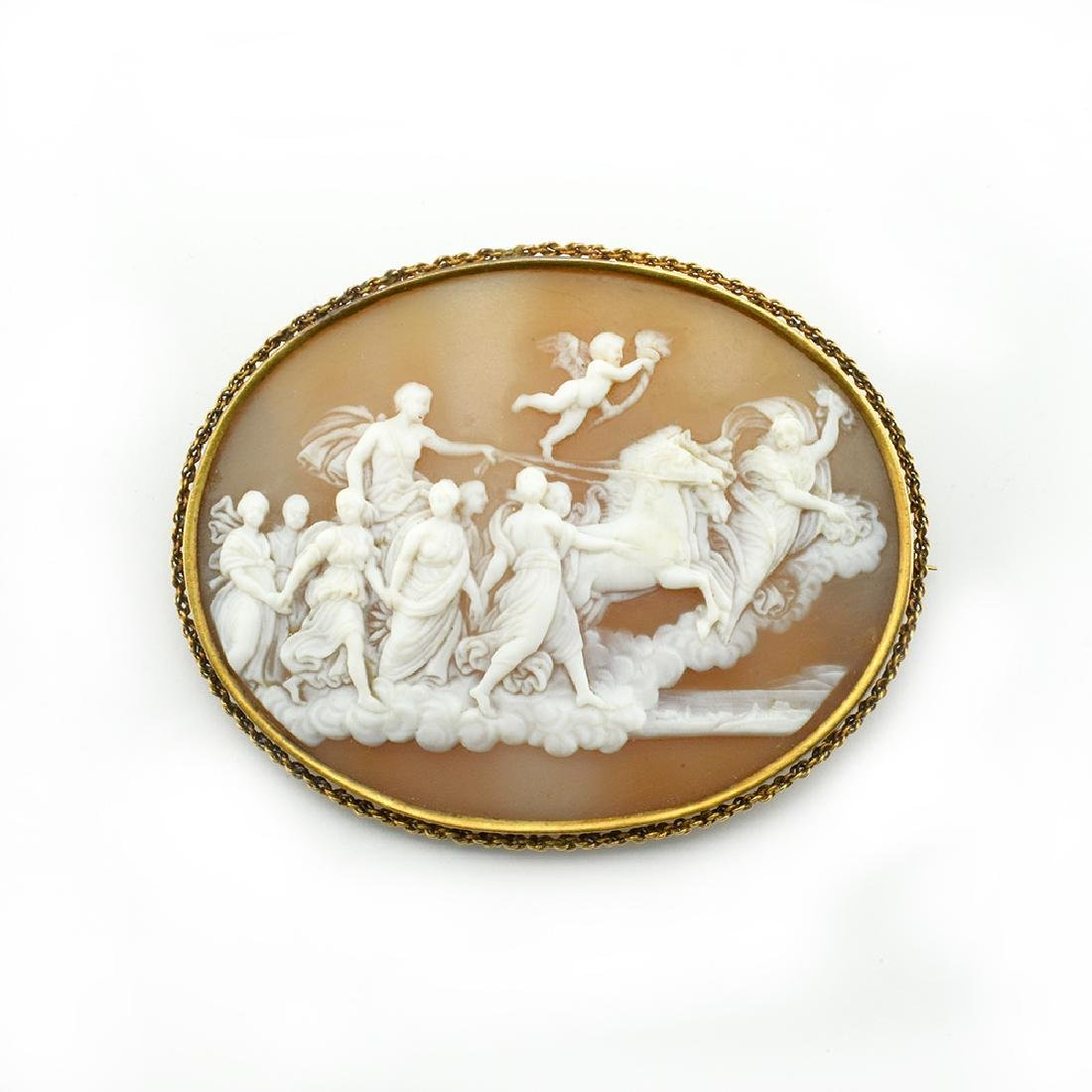 Antique cameo after Reni Russian gold brooch-mount