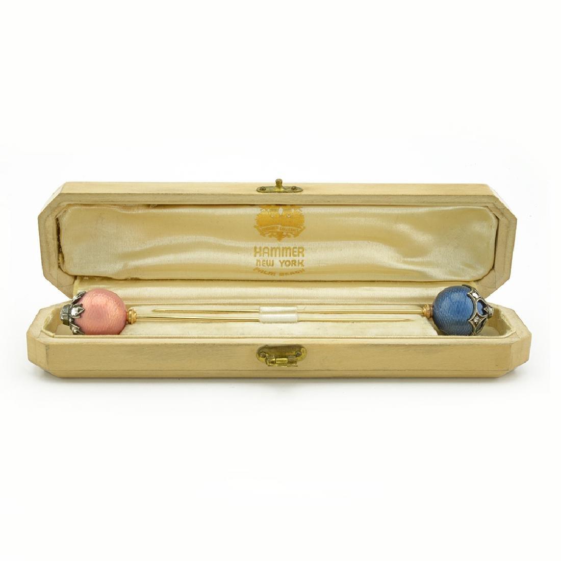 Pair Russian gold & diamond enamel hatpins