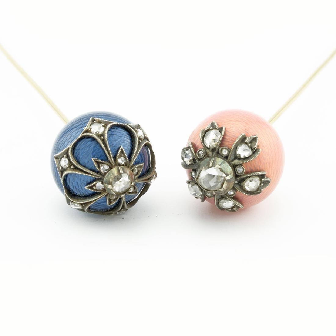 Pair Russian gold & diamond enamel hatpins - 2