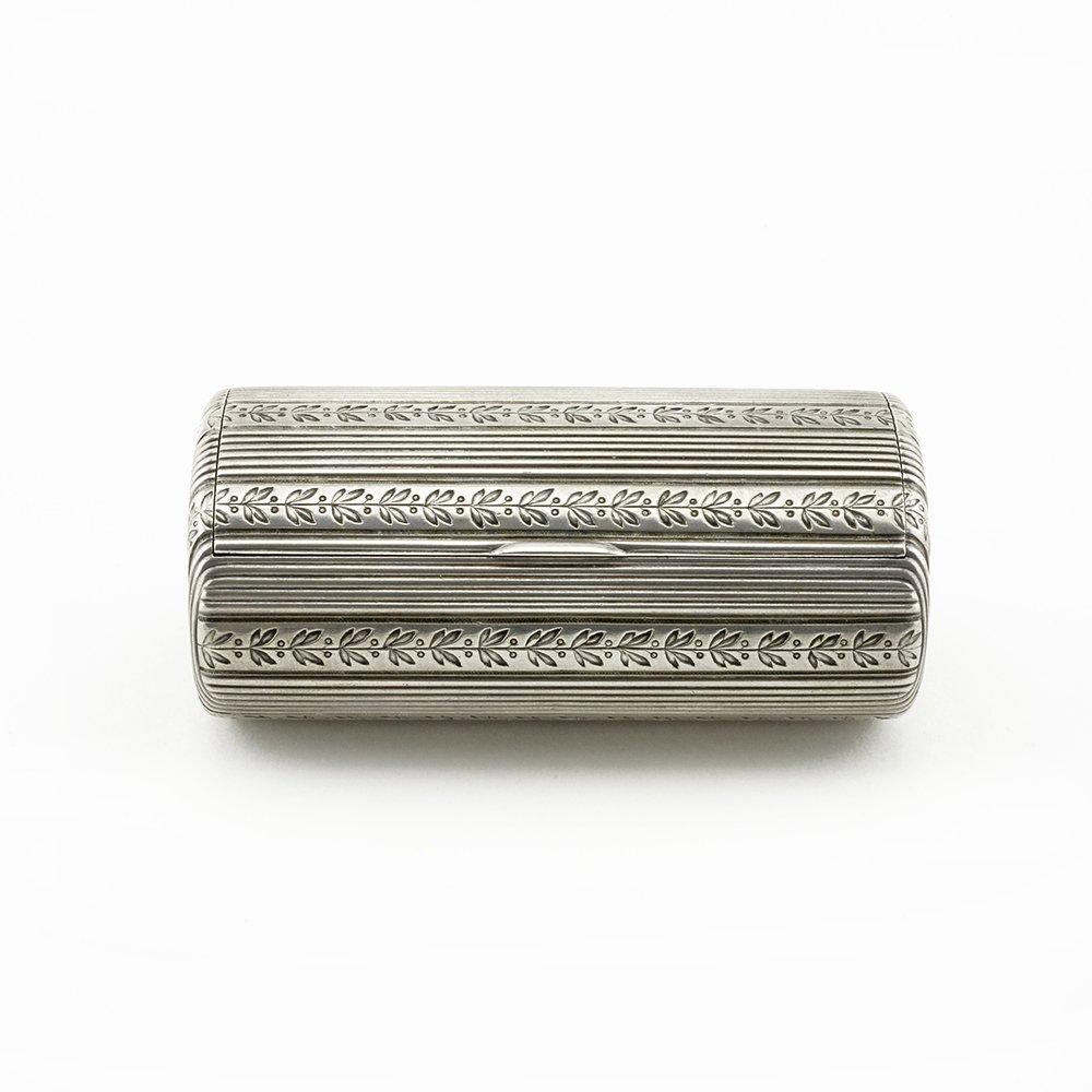 Faberge oval silver cigarette case