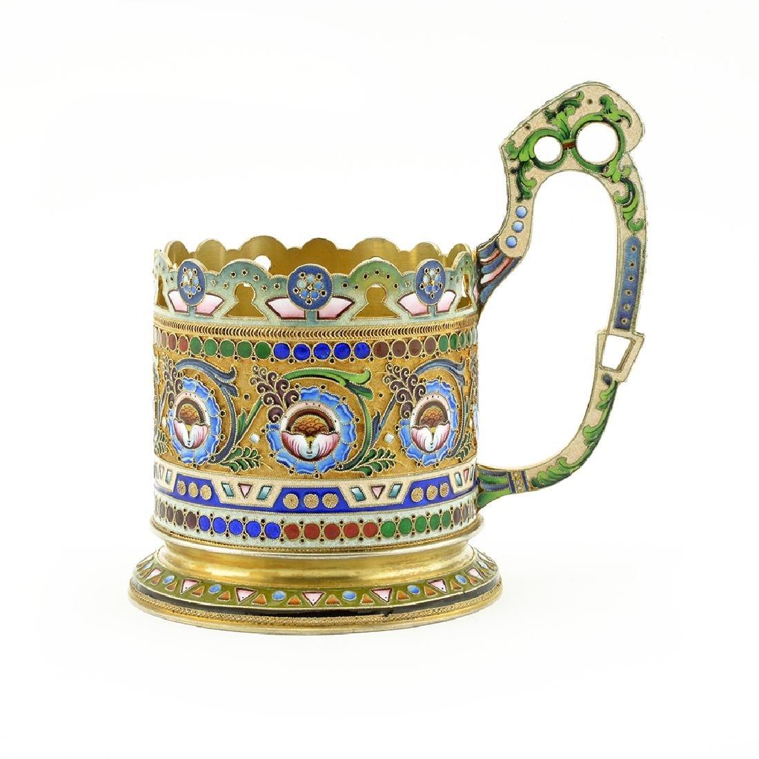 11th Artel shaded cloisonne enamel tea glass holder