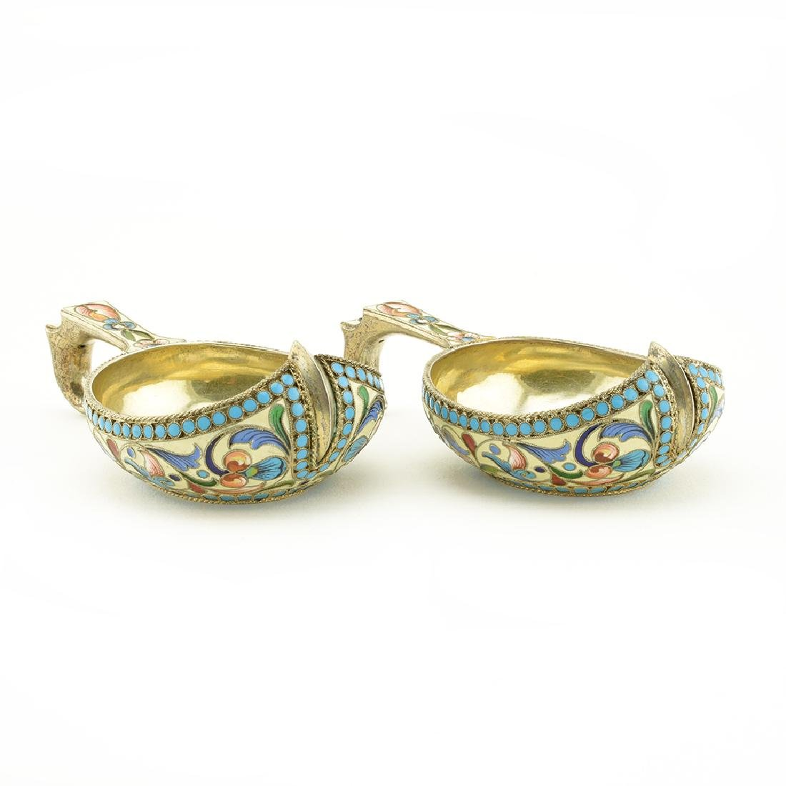 Pair of antique mini shaded enamel kovshi