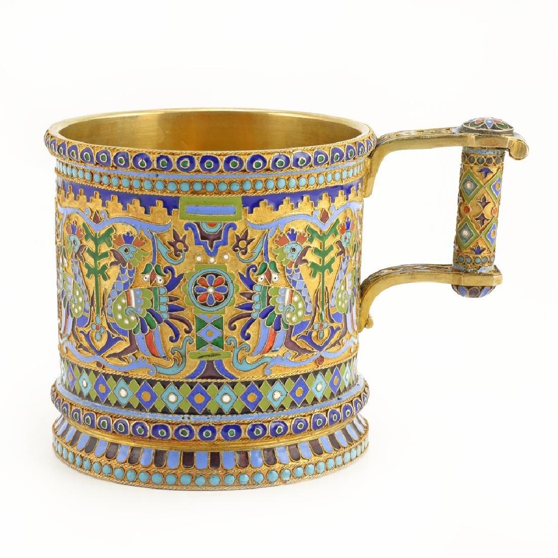 Russian Ovchinnikov enamel tea glass holder