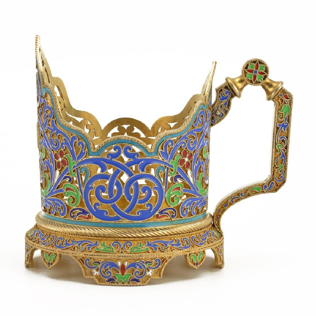 Russian silver and enamel tea glass holder