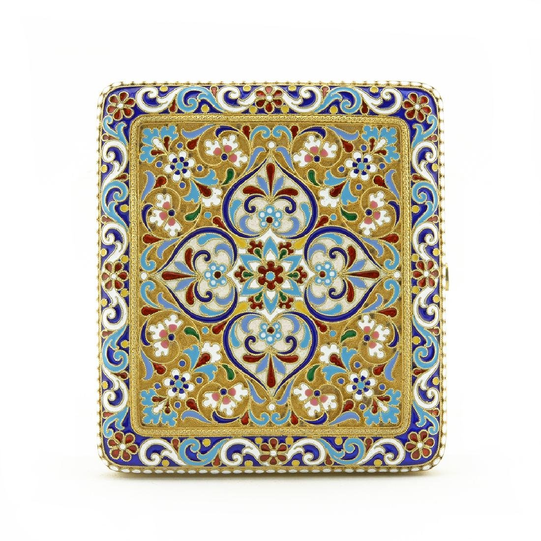 Russian silver and enamel cigarette case