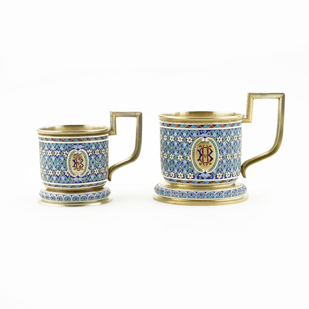 Pair Russian silver & enamel tea glass holders