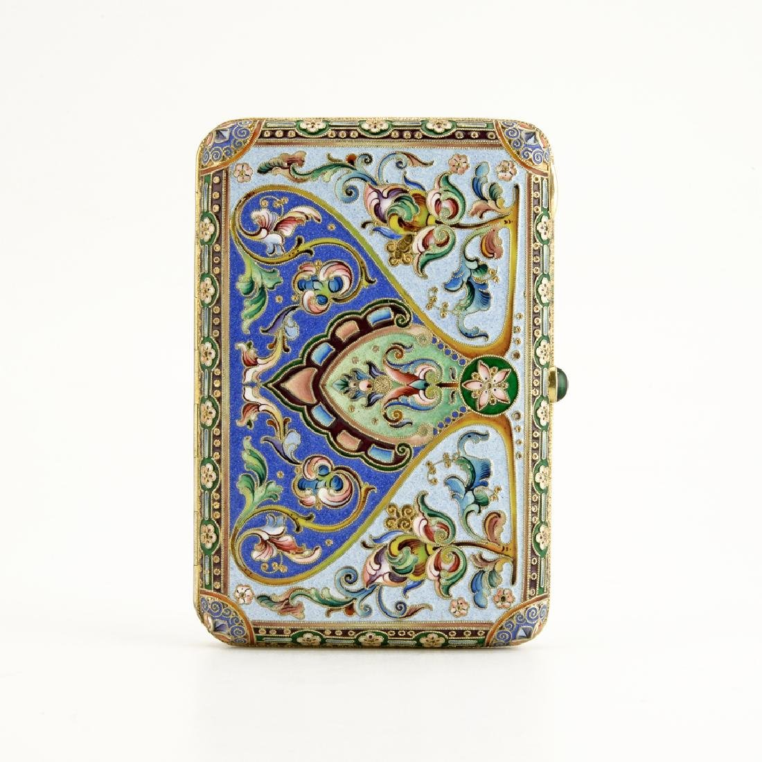 Russian 11th Artel silver and enamel cigarette case