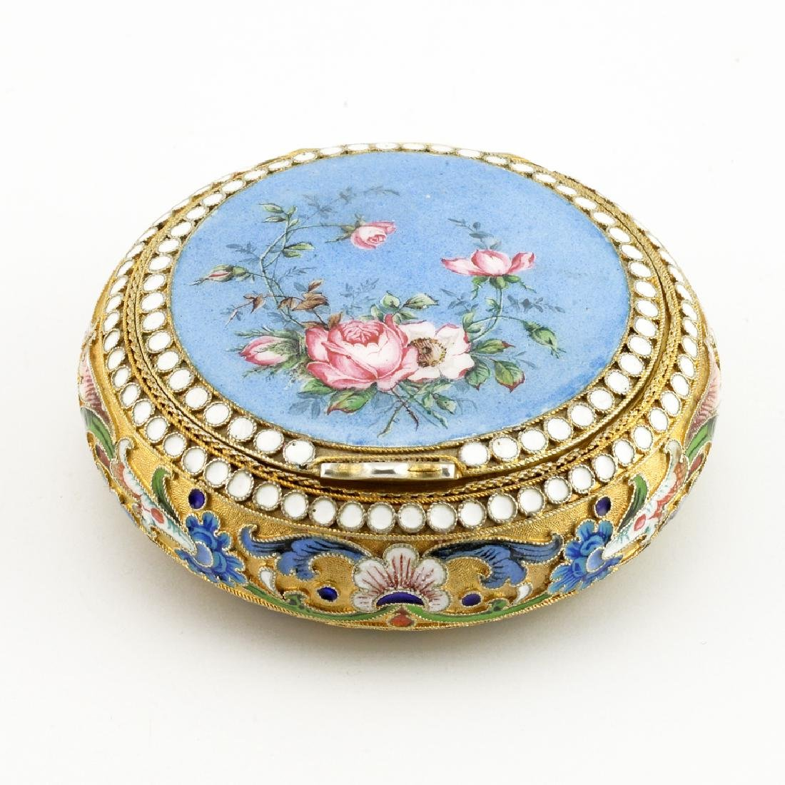 Russian silver, shaded and painted enamel floral case