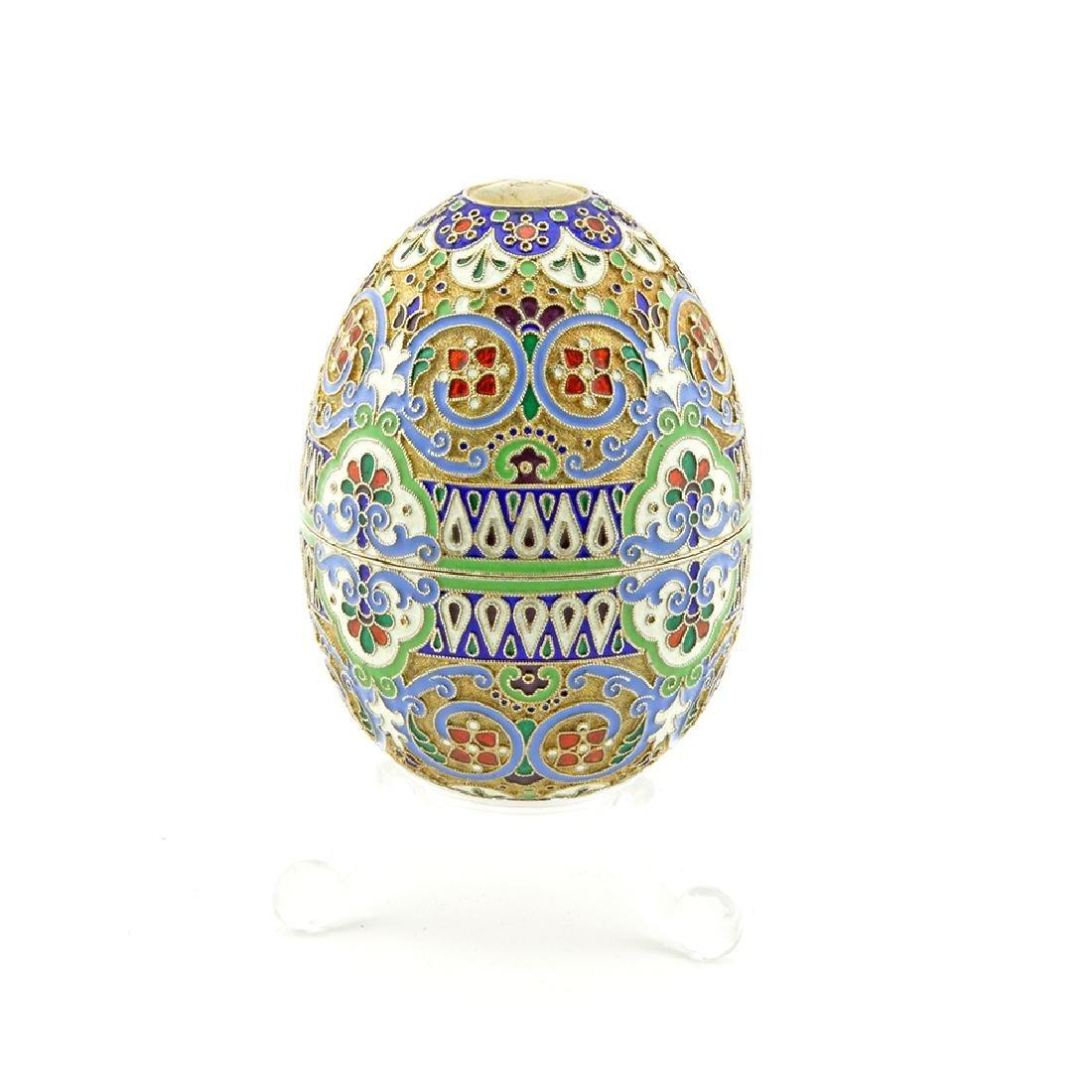Russian silver & enamel Easter egg