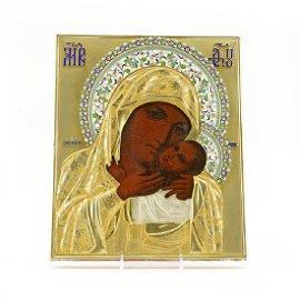 Russian Kasperov Mother icon with silver & enamel oklad