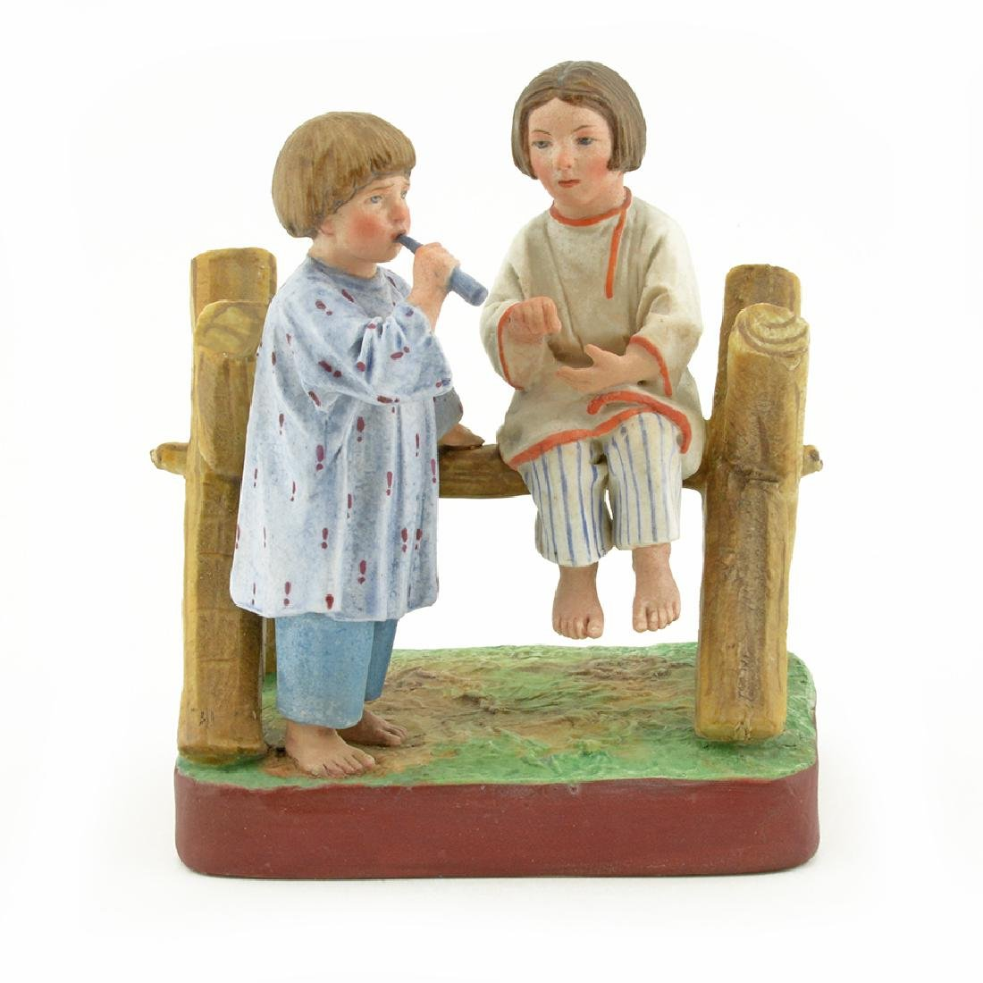 Russian porcelain peasant children group