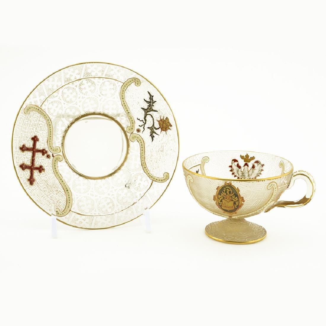 Daum enameled cameo glass cup & saucer
