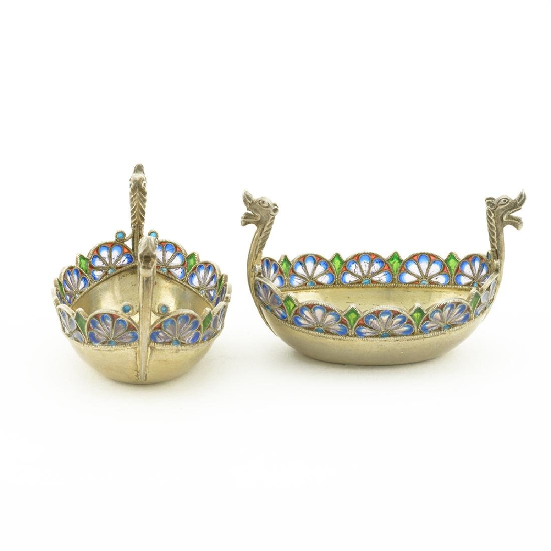 Pair mini Norwegian silver & enamel salts - 2