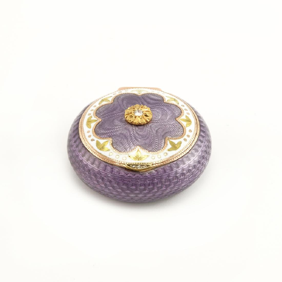 Russian Britzen Jewelled Gold and Enamel Pillbox