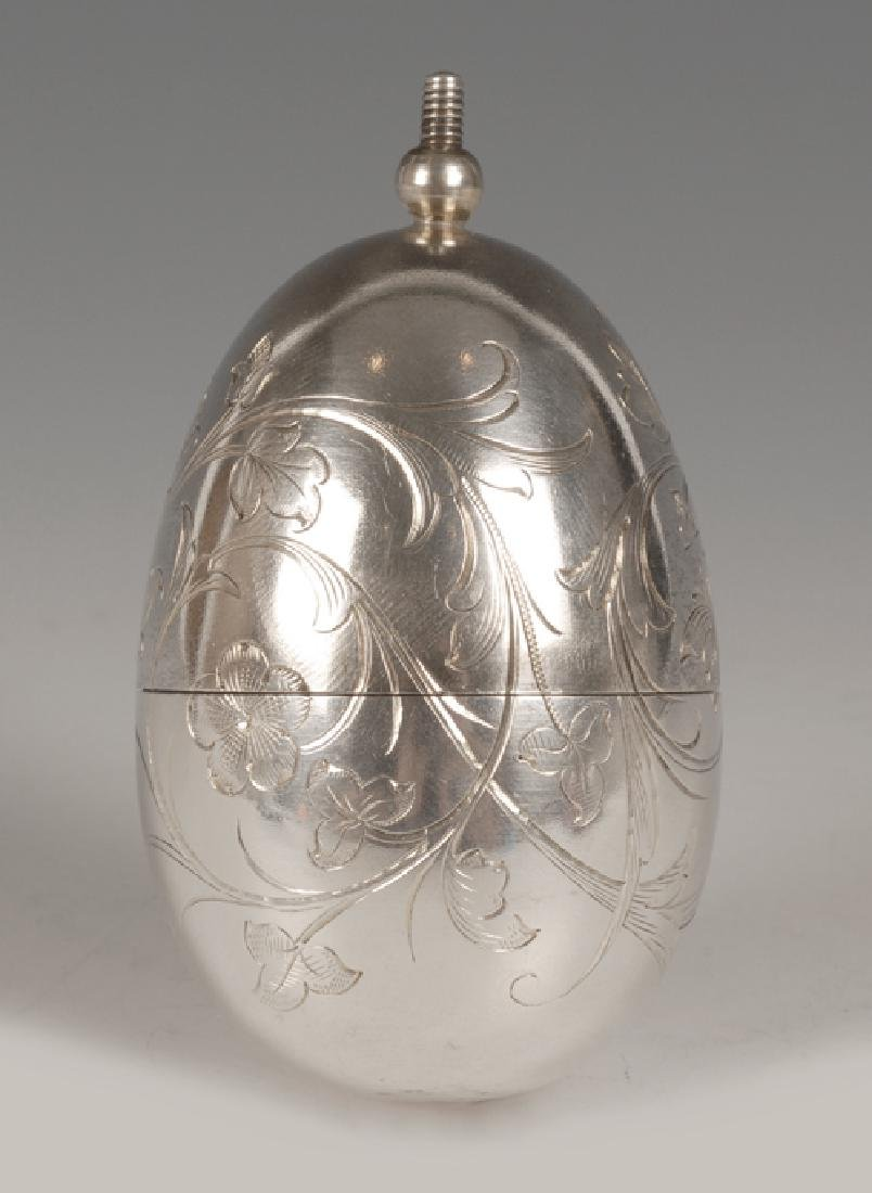Russian engraved silver Easter egg