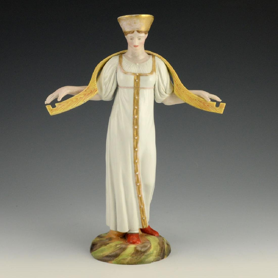 A Russian Gardner Porcelain Water Carrier Woman Statue