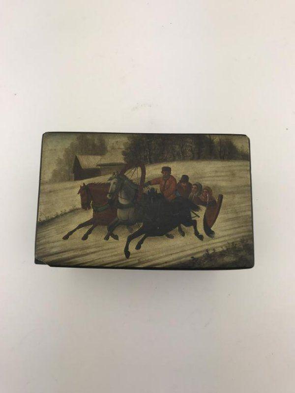 Antique Russian Wooden Black Lacquer Box