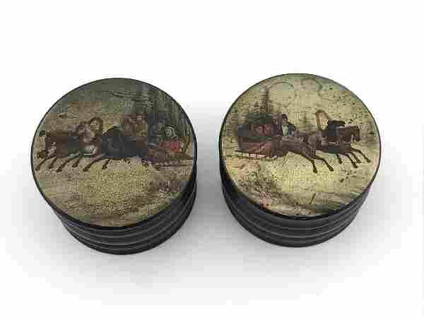 Antique Russian Round Black lacquered Folk Art Box