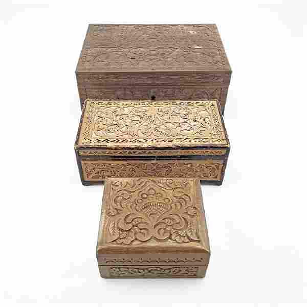 3 Soviet Ornate Carved Wood Folk Art Boxes