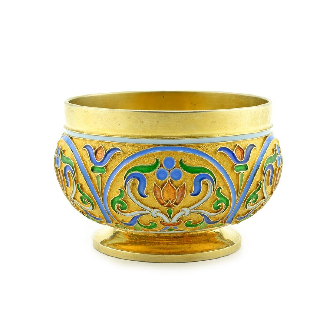A rare Faberge gilded silver and cloisonne enamel salt